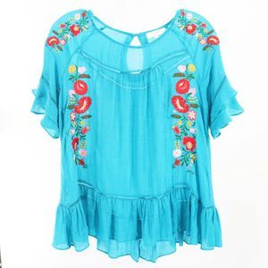 UMGEE Turquoise Embroidered Boho Tunic Top